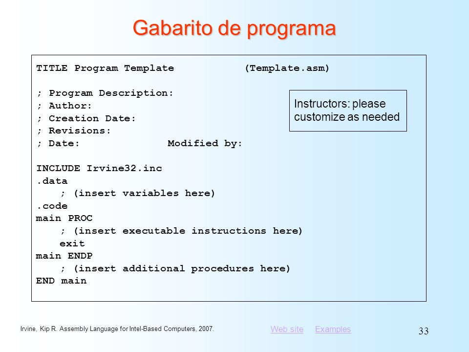 Gabarito de programa Instructors: please customize as needed