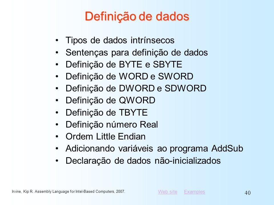 Definição de dados Tipos de dados intrínsecos