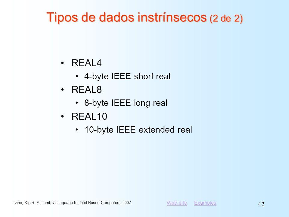 Tipos de dados instrínsecos (2 de 2)