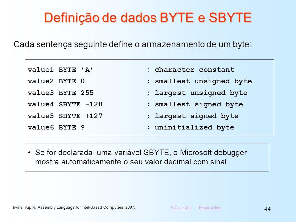 Definição de dados BYTE e SBYTE