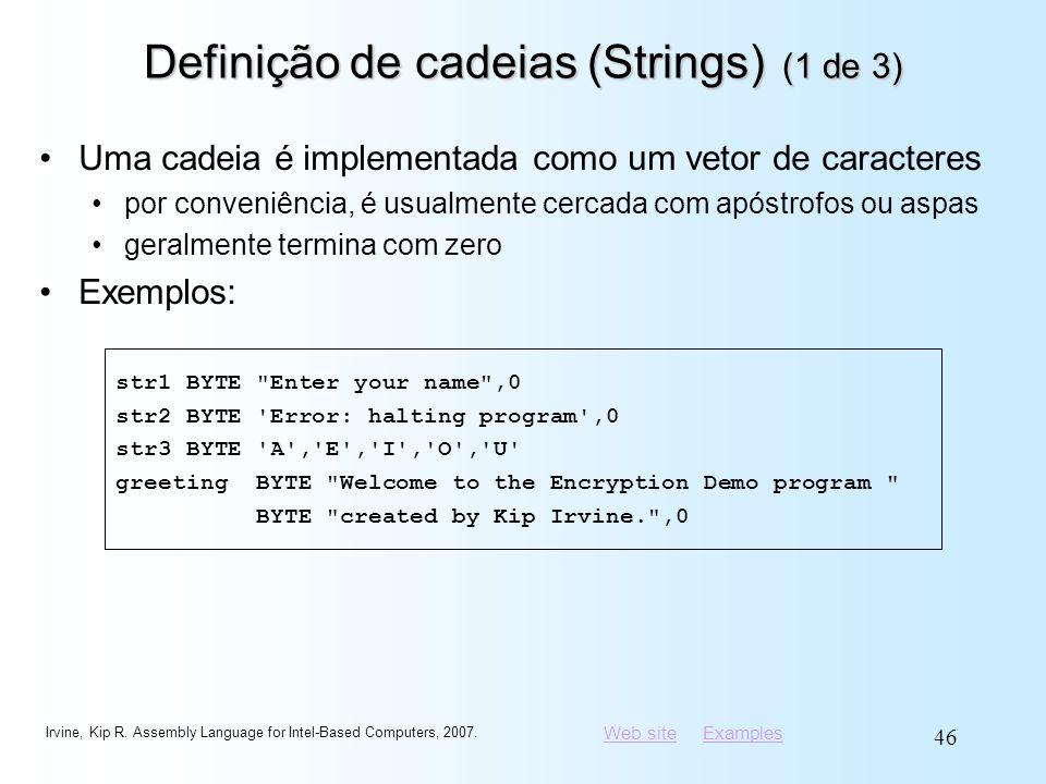 Definição de cadeias (Strings) (1 de 3)
