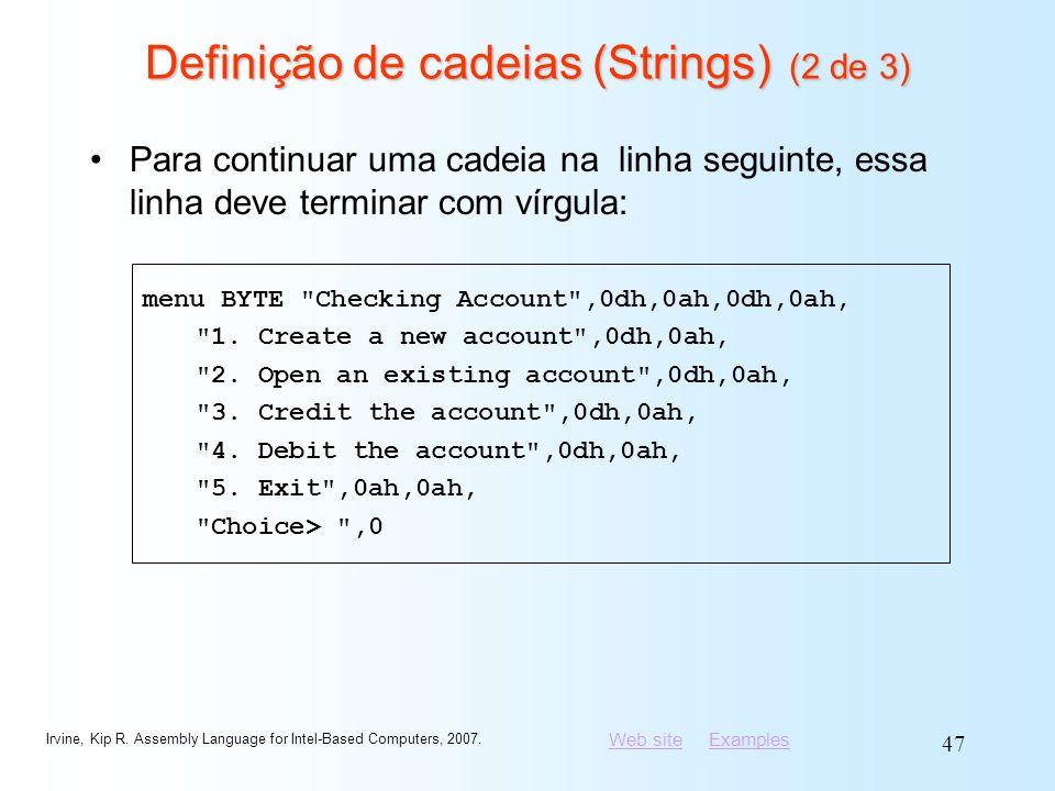 Definição de cadeias (Strings) (2 de 3)