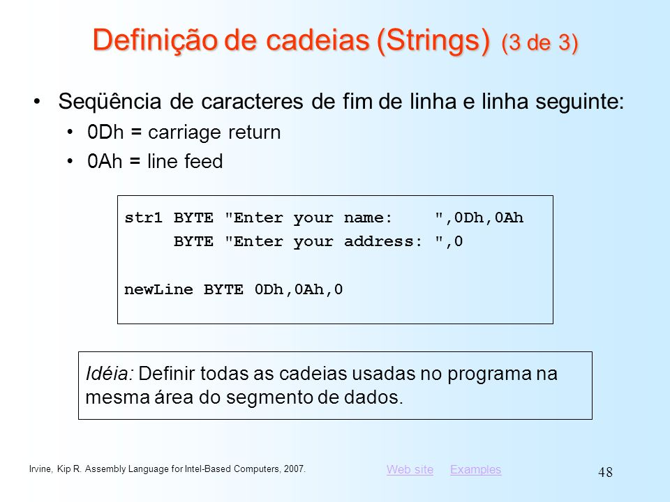 Definição de cadeias (Strings) (3 de 3)