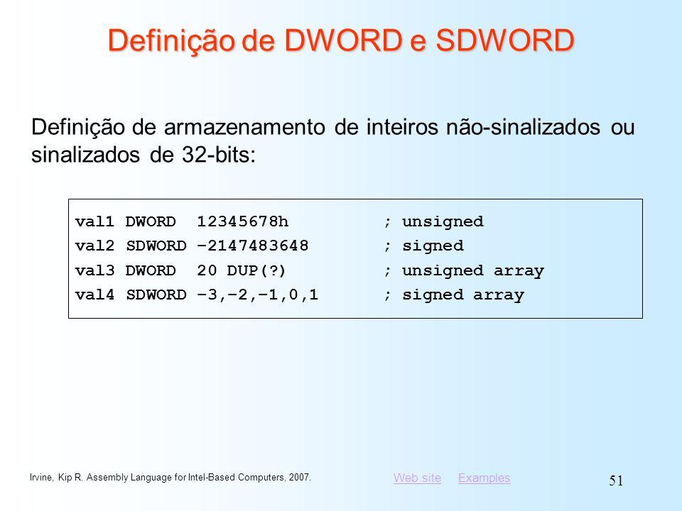 Definição de DWORD e SDWORD