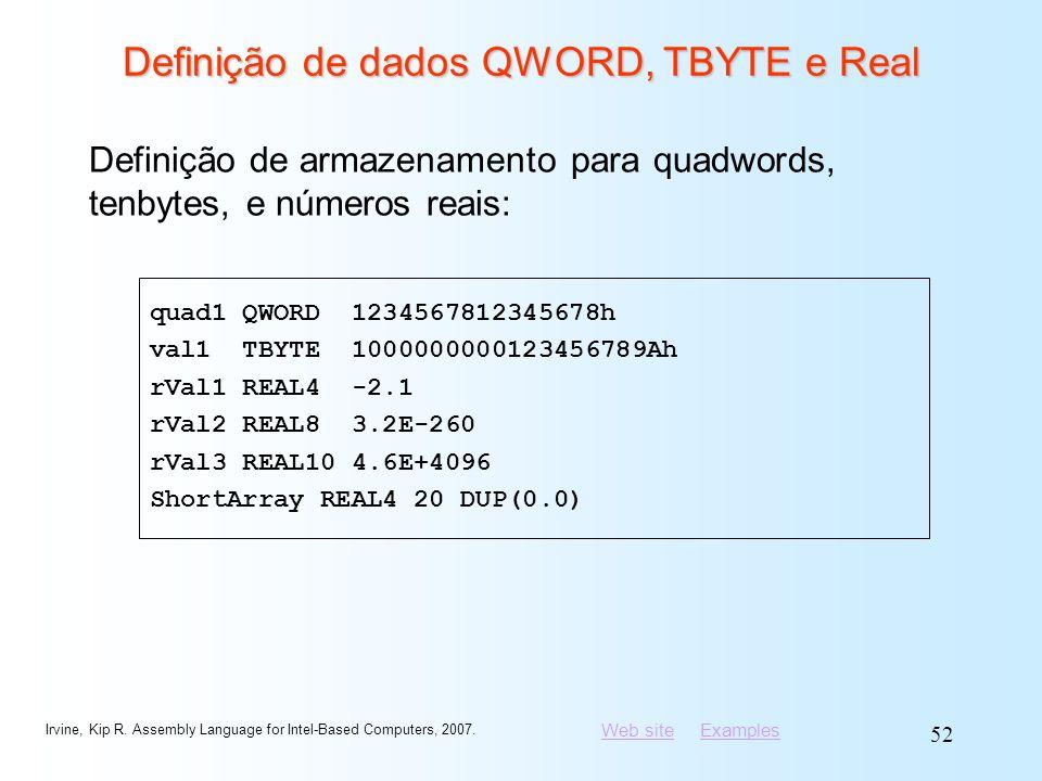 Definição de dados QWORD, TBYTE e Real