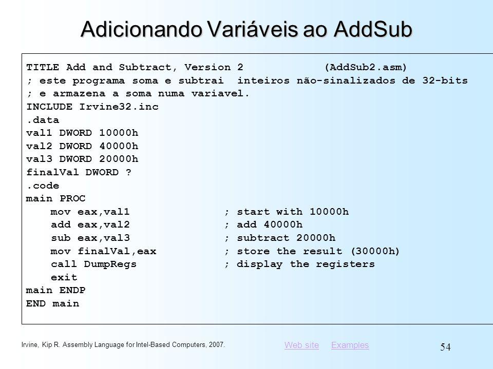 Adicionando Variáveis ao AddSub