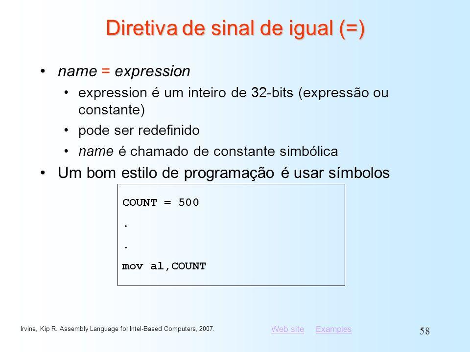 Diretiva de sinal de igual (=)