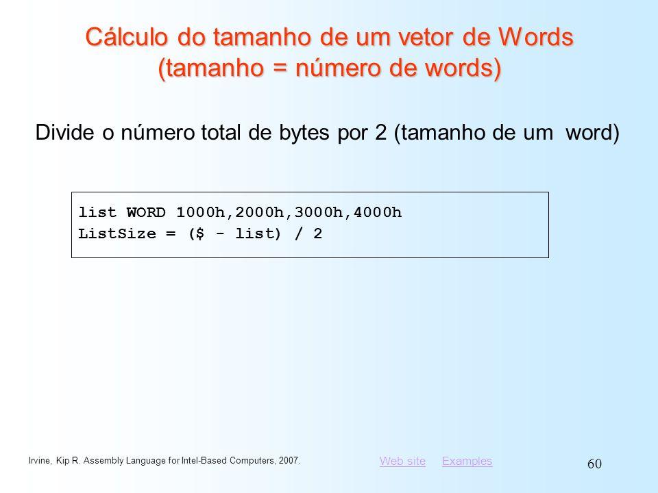 Cálculo do tamanho de um vetor de Words (tamanho = número de words)