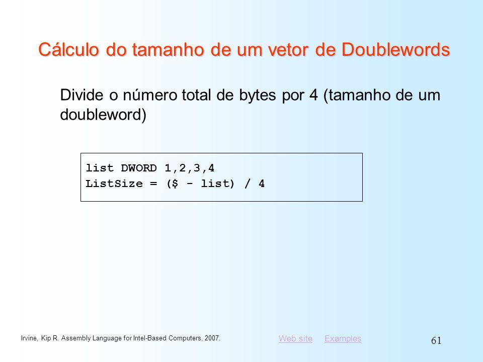 Cálculo do tamanho de um vetor de Doublewords