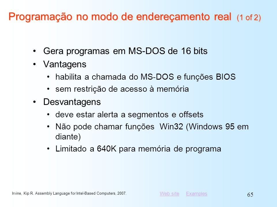 Programação no modo de endereçamento real (1 of 2)