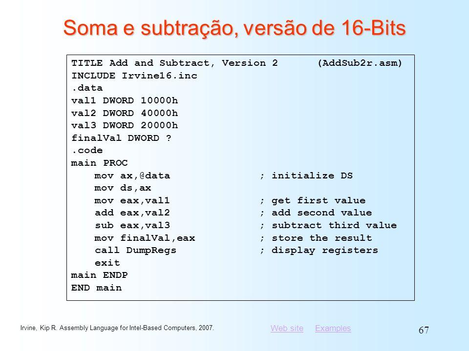 Soma e subtração, versão de 16-Bits