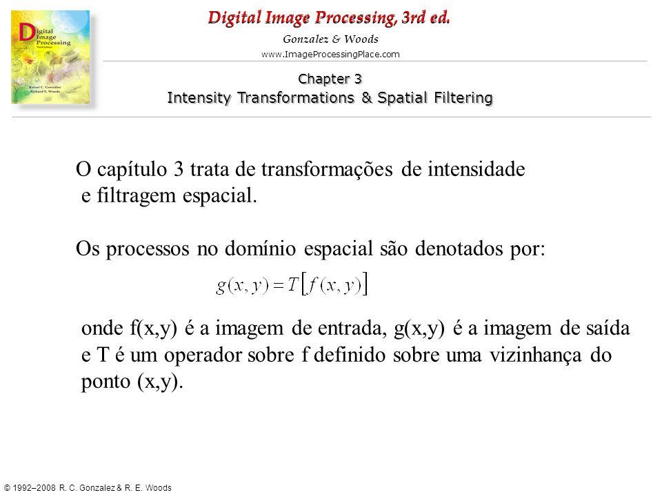 O capítulo 3 trata de transformações de intensidade