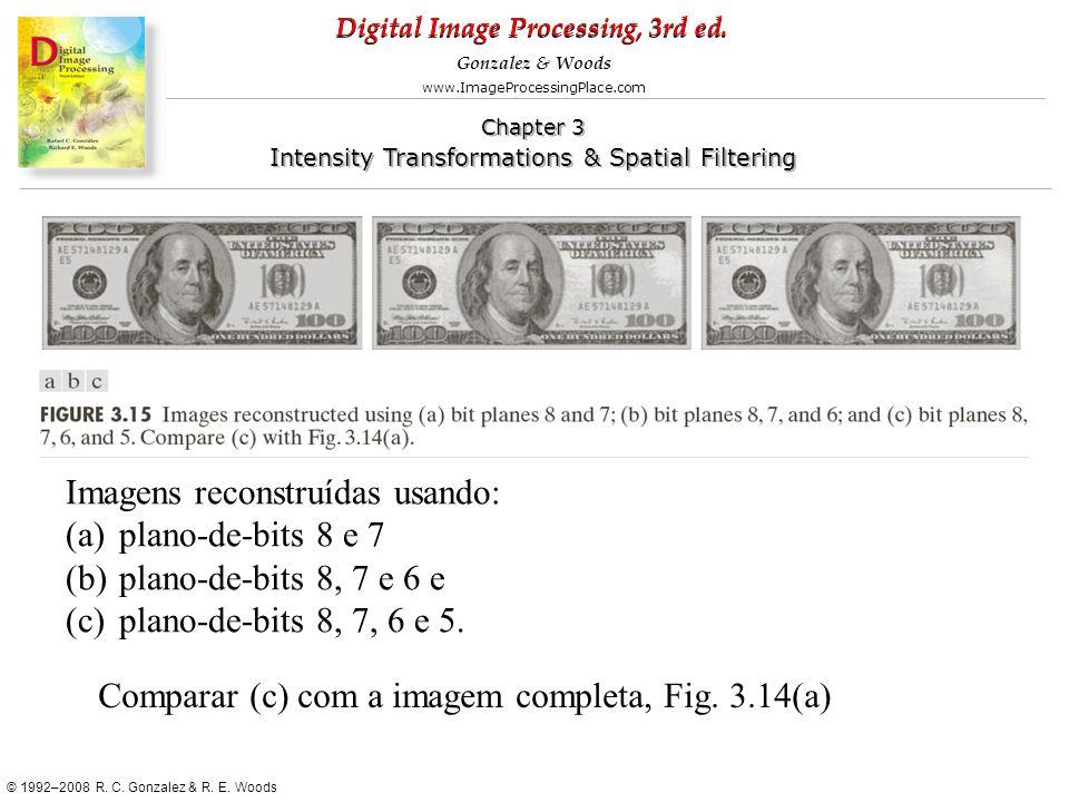 Imagens reconstruídas usando: