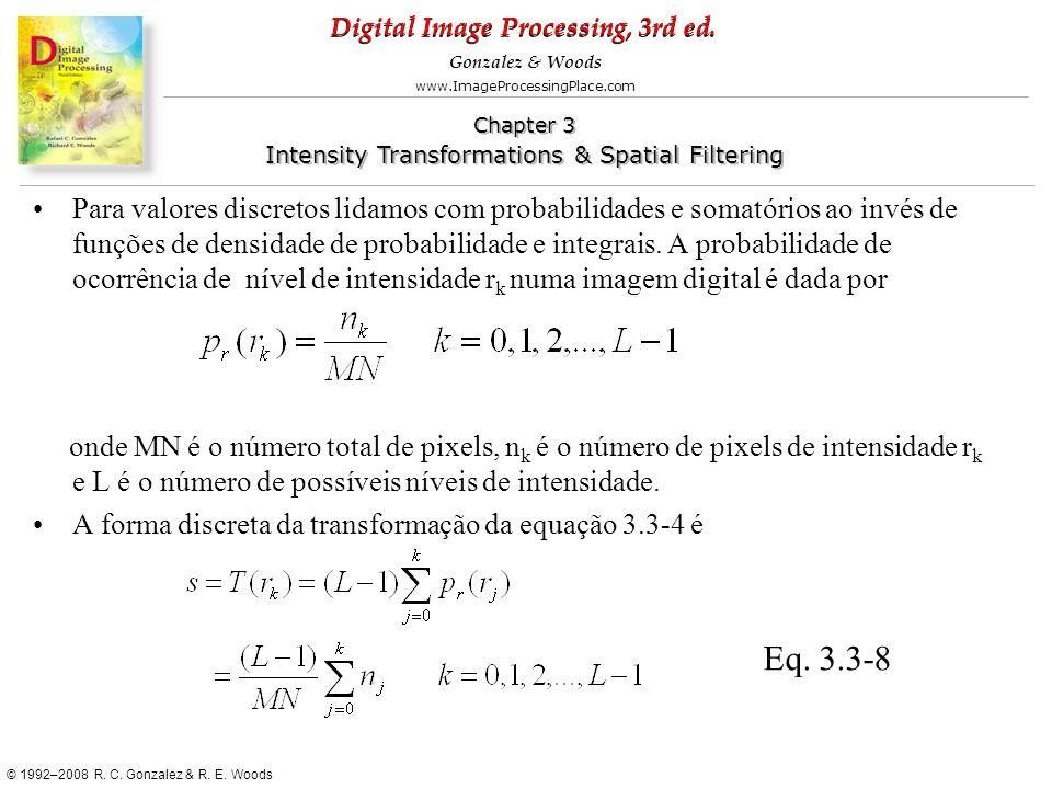 Para valores discretos lidamos com probabilidades e somatórios ao invés de funções de densidade de probabilidade e integrais. A probabilidade de ocorrência de nível de intensidade rk numa imagem digital é dada por
