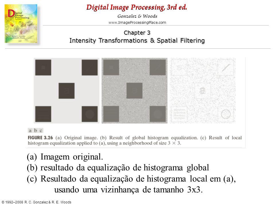Imagem original. resultado da equalização de histograma global. Resultado da equalização de histograma local em (a),