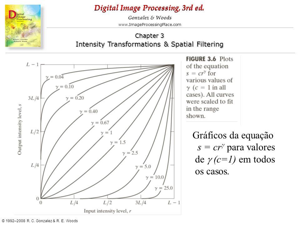 Gráficos da equação s = crg para valores de g (c=1) em todos os casos.