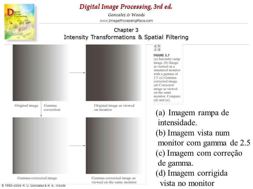 Imagem rampa de intensidade. (b) Imagem vista num. monitor com gamma de 2.5. (c) Imagem com correção.