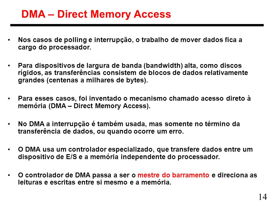 DMA – Direct Memory Access