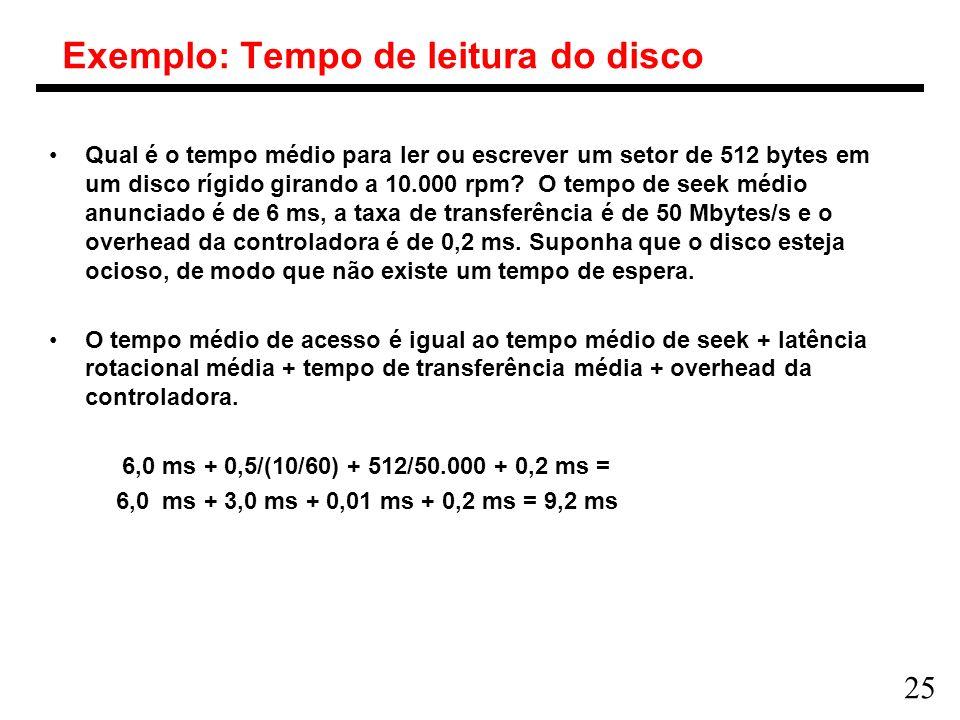 Exemplo: Tempo de leitura do disco