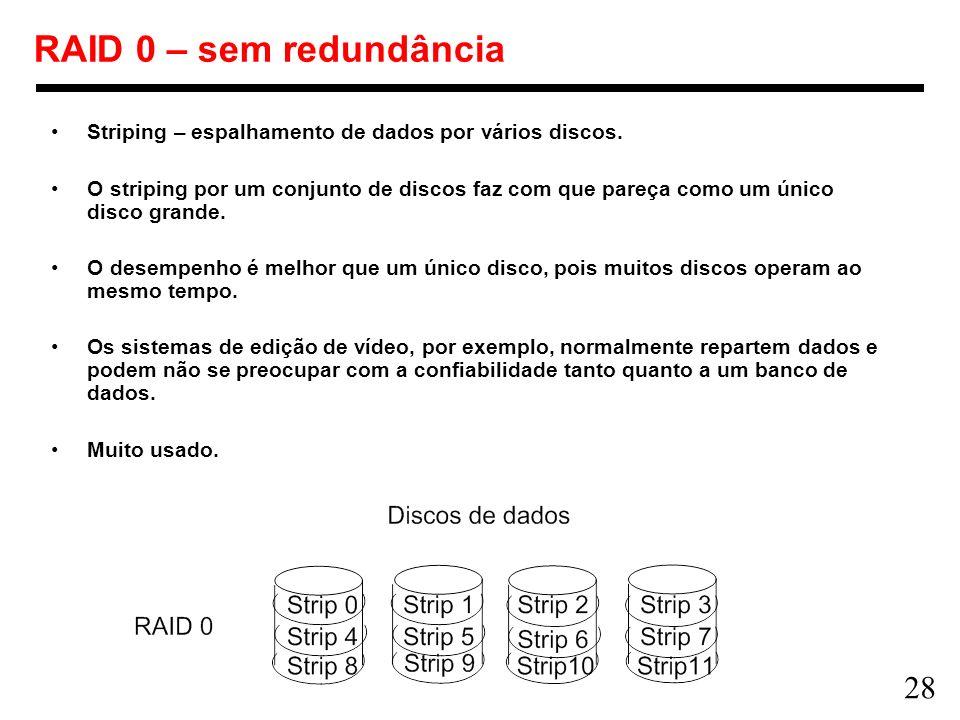 RAID 0 – sem redundância Striping – espalhamento de dados por vários discos.