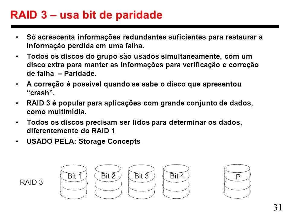 RAID 3 – usa bit de paridade