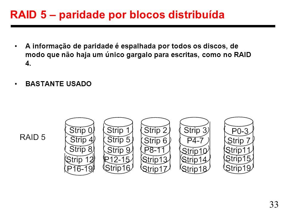 RAID 5 – paridade por blocos distribuída