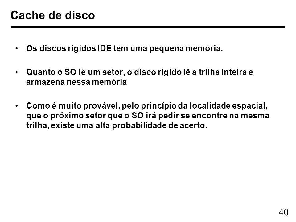 Cache de disco Os discos rígidos IDE tem uma pequena memória.