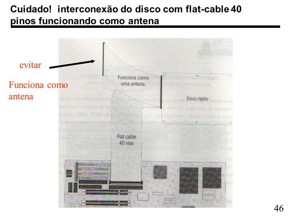 Cuidado! interconexão do disco com flat-cable 40 pinos funcionando como antena