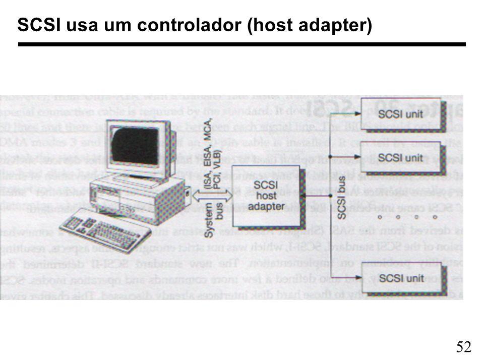 SCSI usa um controlador (host adapter)