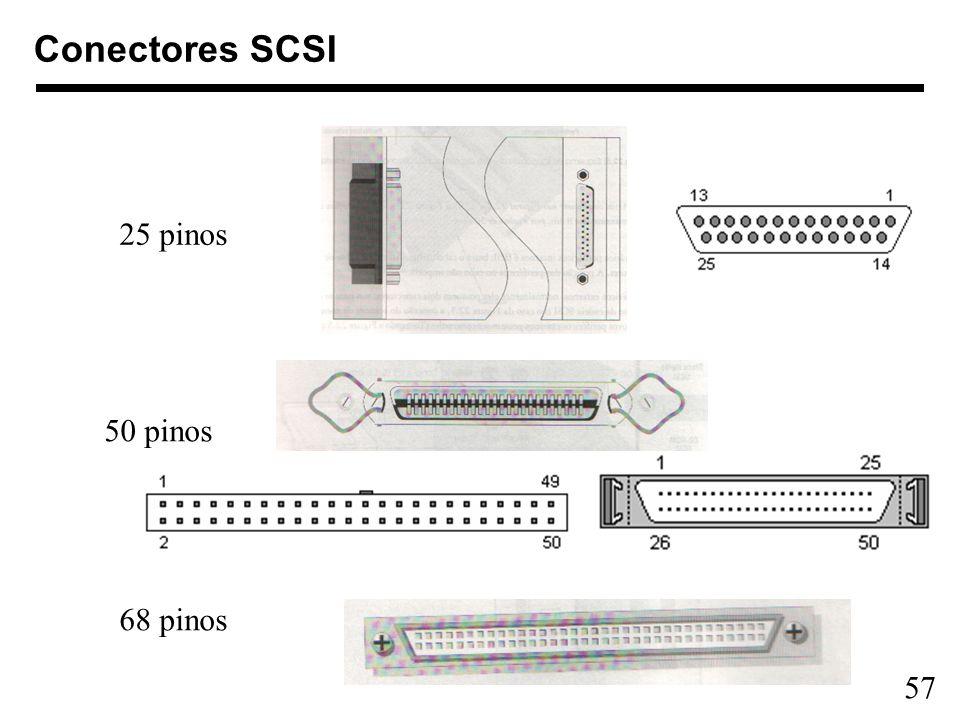 Conectores SCSI 25 pinos 50 pinos 68 pinos