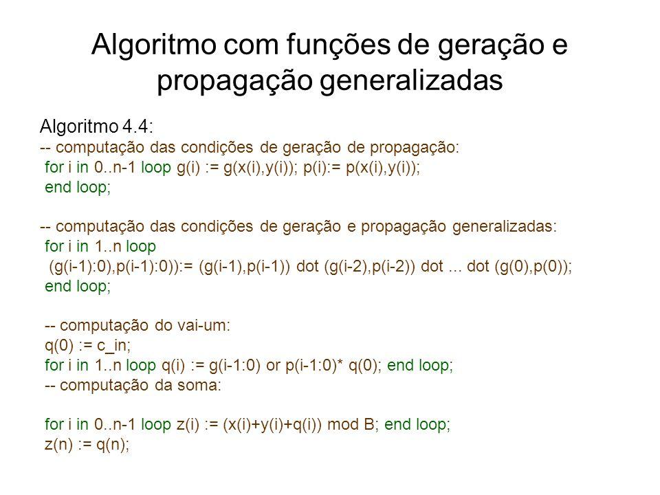 Algoritmo com funções de geração e propagação generalizadas