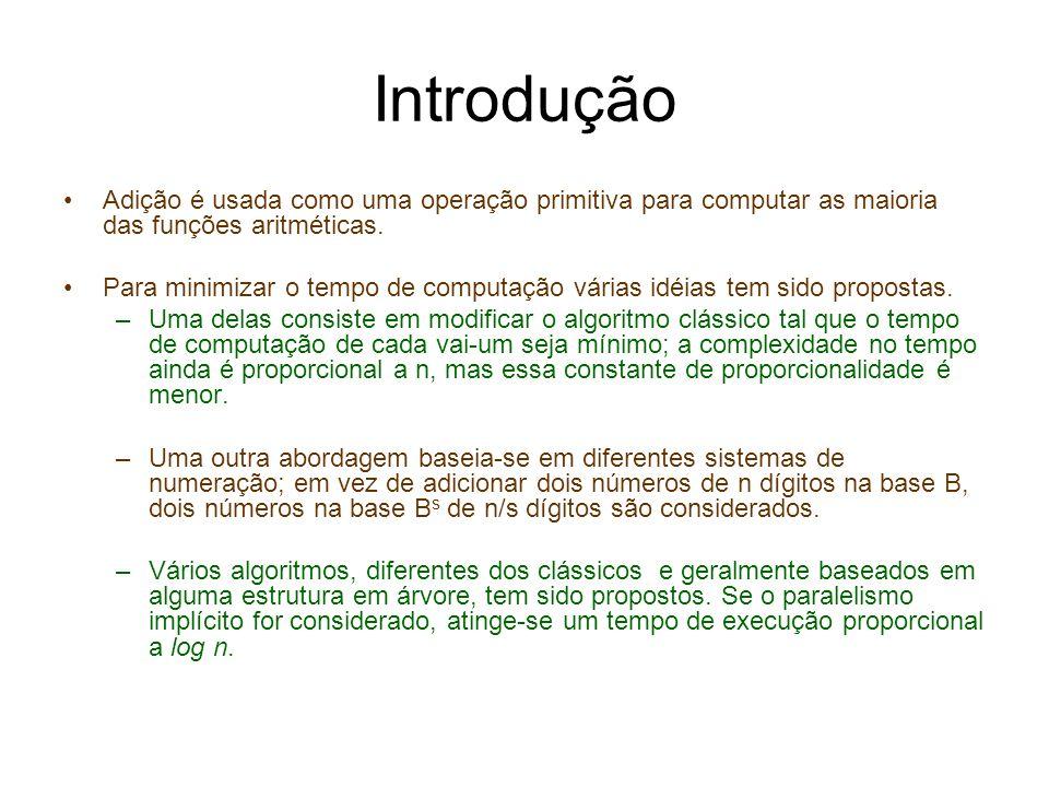 IntroduçãoAdição é usada como uma operação primitiva para computar as maioria das funções aritméticas.