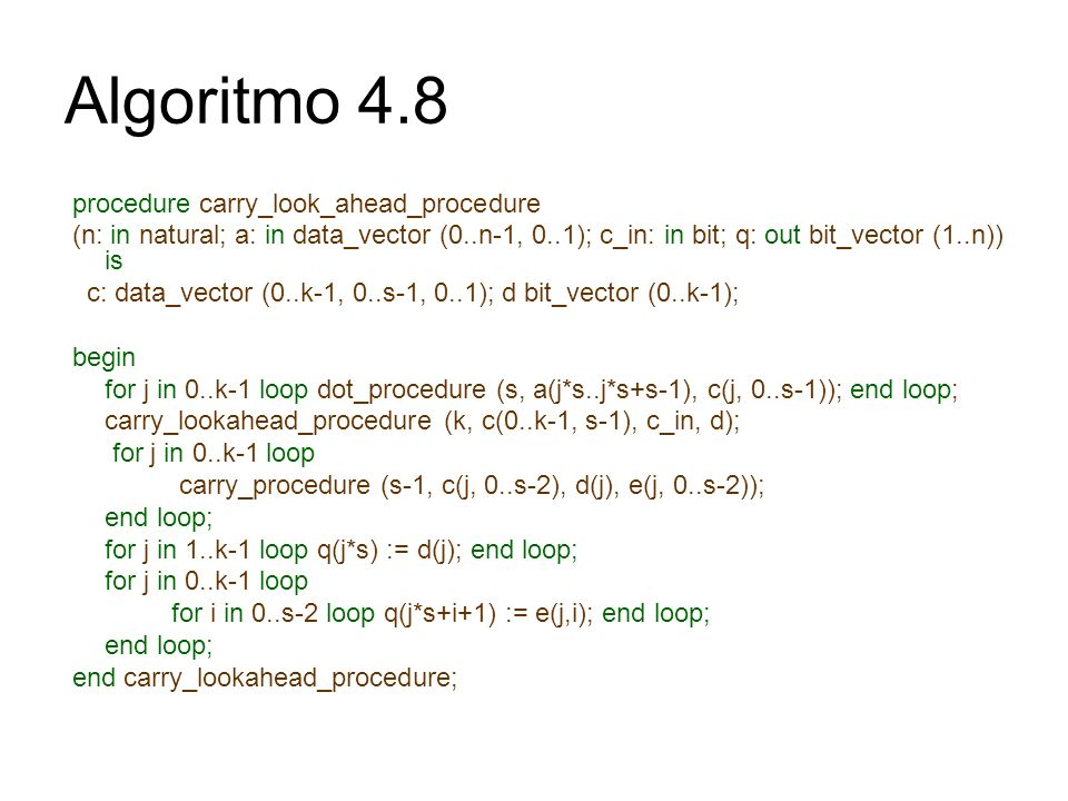 Algoritmo 4.8 procedure carry_look_ahead_procedure