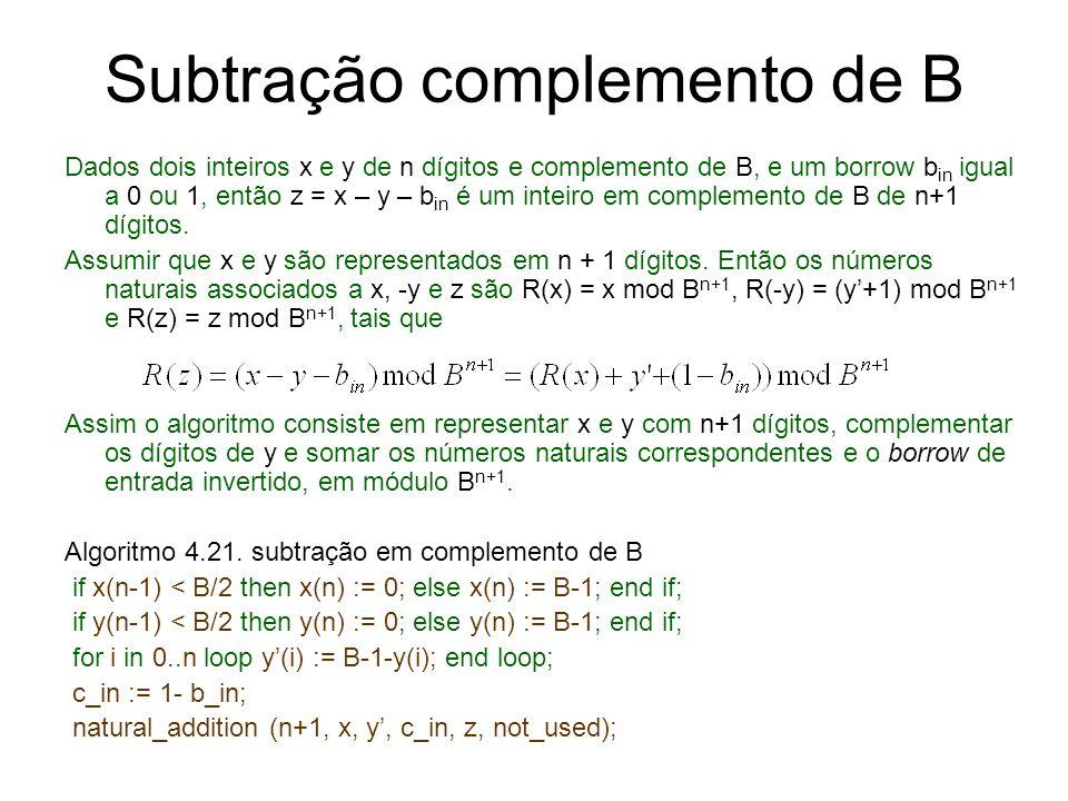 Subtração complemento de B