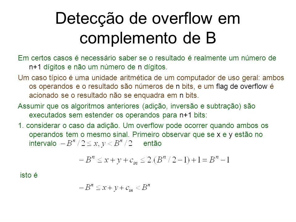 Detecção de overflow em complemento de B