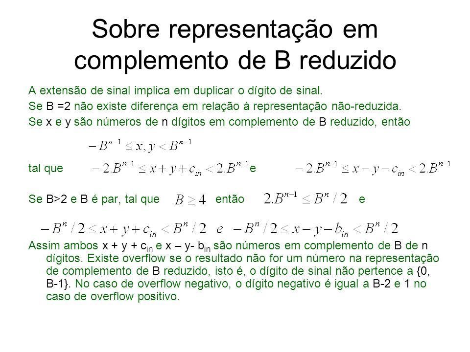 Sobre representação em complemento de B reduzido