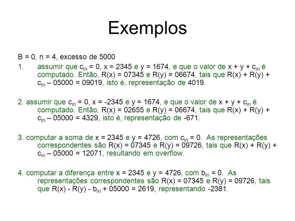 Exemplos B = 0, n = 4, excesso de 5000
