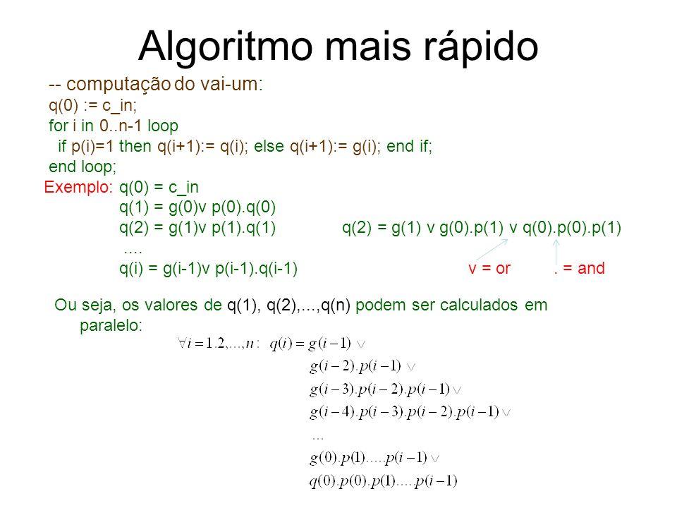 Algoritmo mais rápido -- computação do vai-um: q(0) := c_in;
