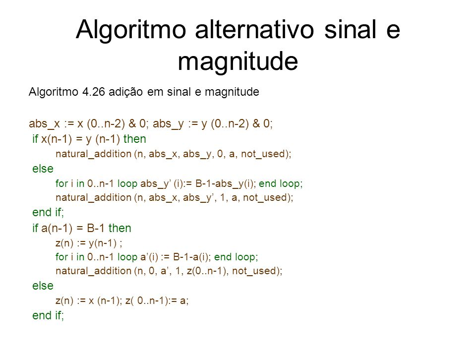 Algoritmo alternativo sinal e magnitude