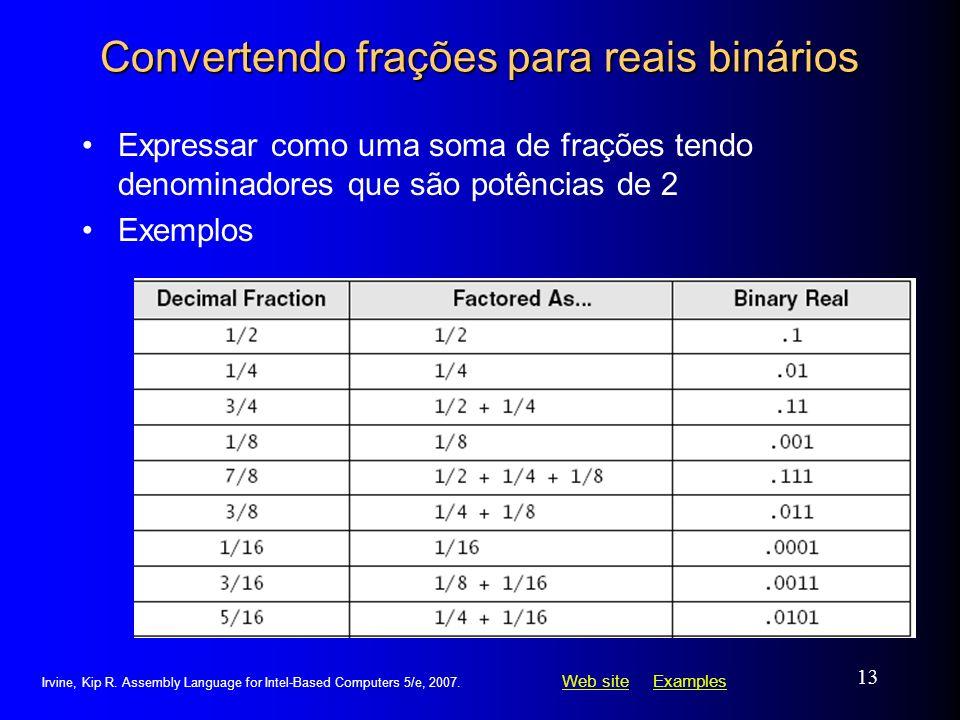 Convertendo frações para reais binários