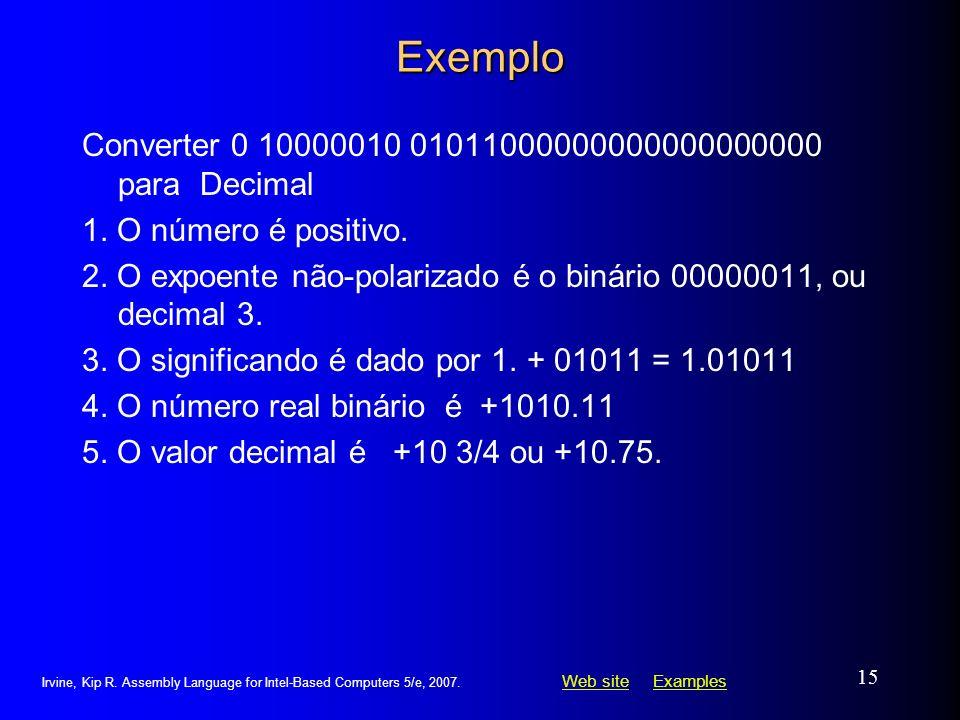 Exemplo Converter 0 10000010 01011000000000000000000 para Decimal