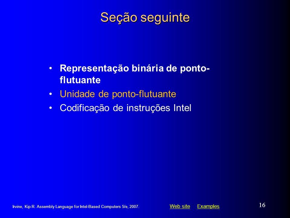 Seção seguinte Representação binária de ponto-flutuante