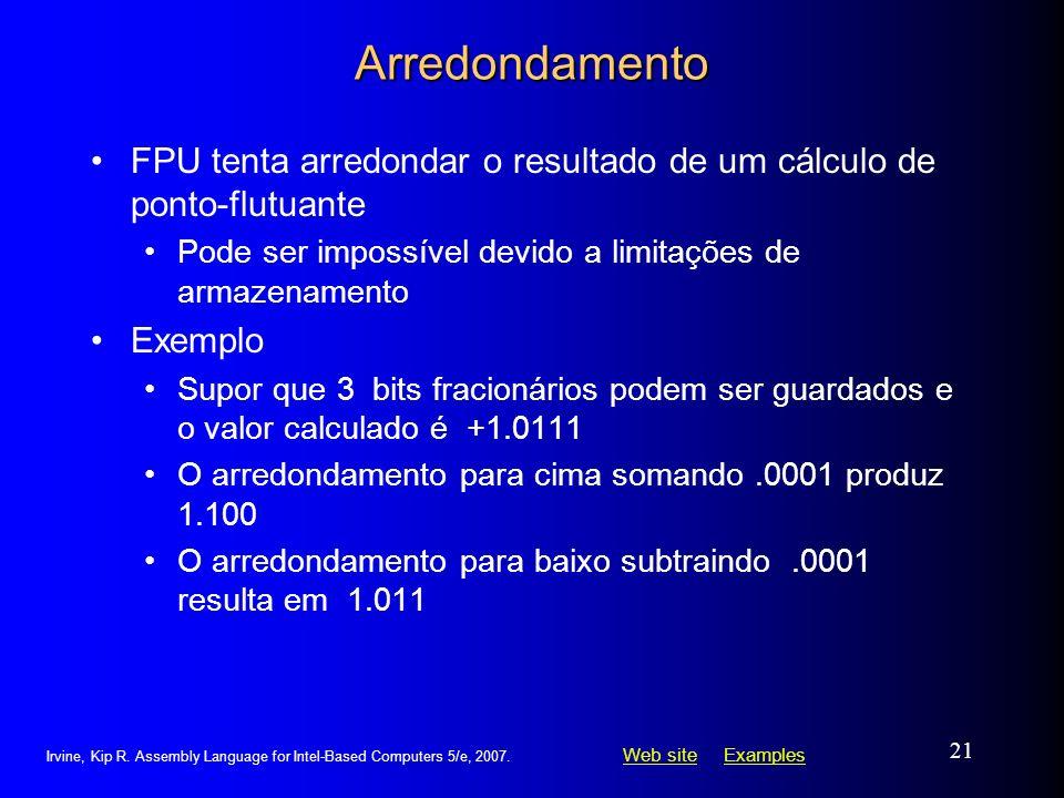 ArredondamentoFPU tenta arredondar o resultado de um cálculo de ponto-flutuante. Pode ser impossível devido a limitações de armazenamento.