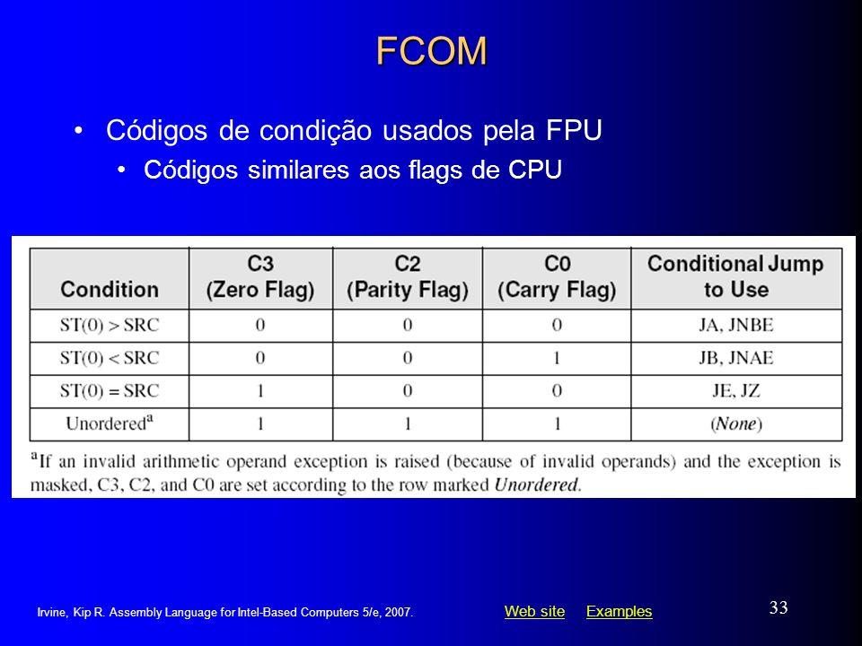FCOM Códigos de condição usados pela FPU