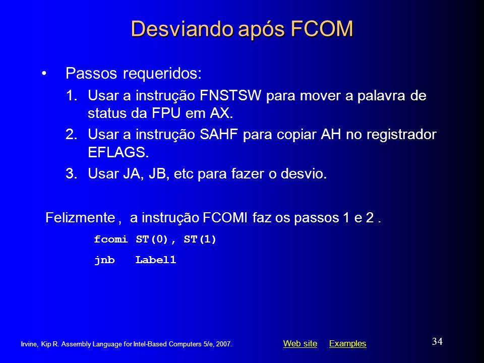 Desviando após FCOM Passos requeridos: