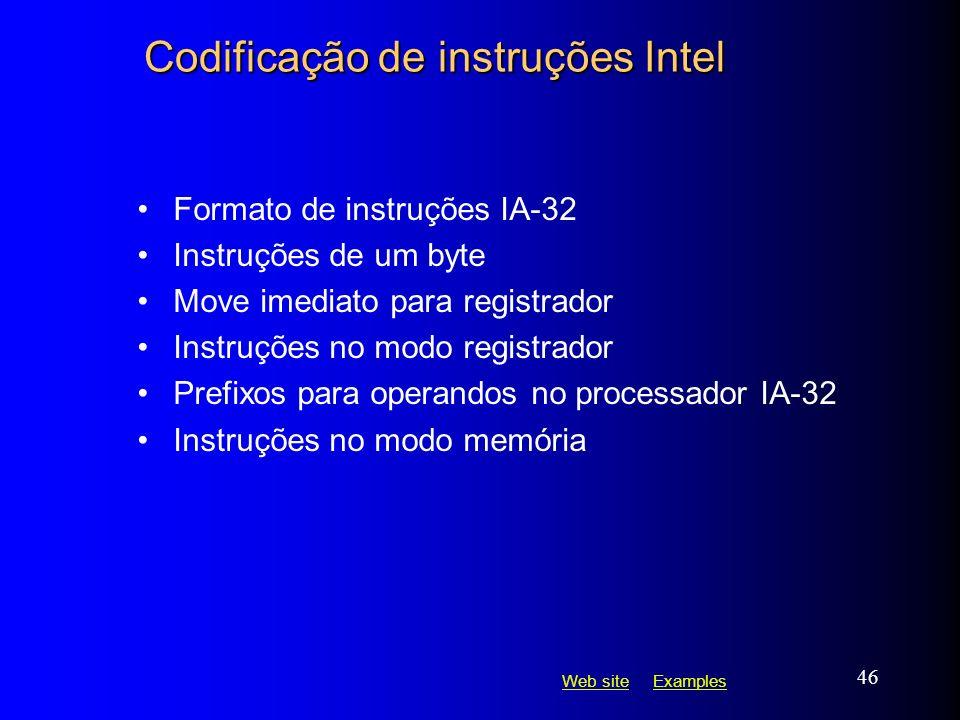 Codificação de instruções Intel