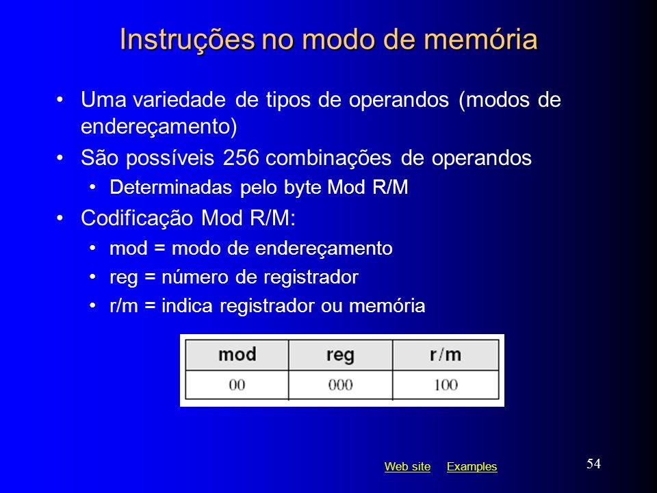 Instruções no modo de memória