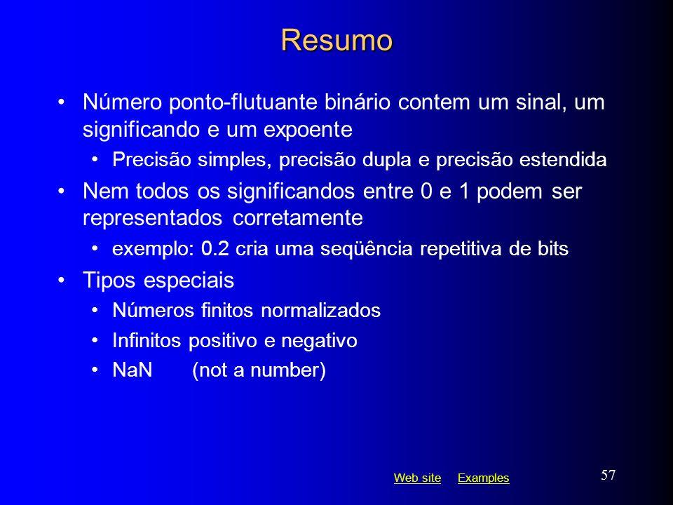 Resumo Número ponto-flutuante binário contem um sinal, um significando e um expoente. Precisão simples, precisão dupla e precisão estendida.