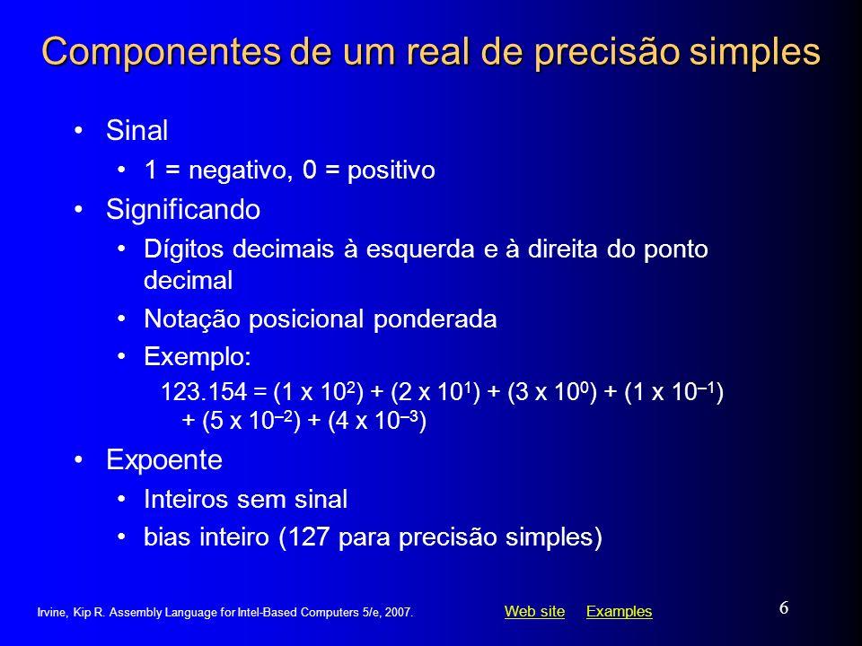 Componentes de um real de precisão simples