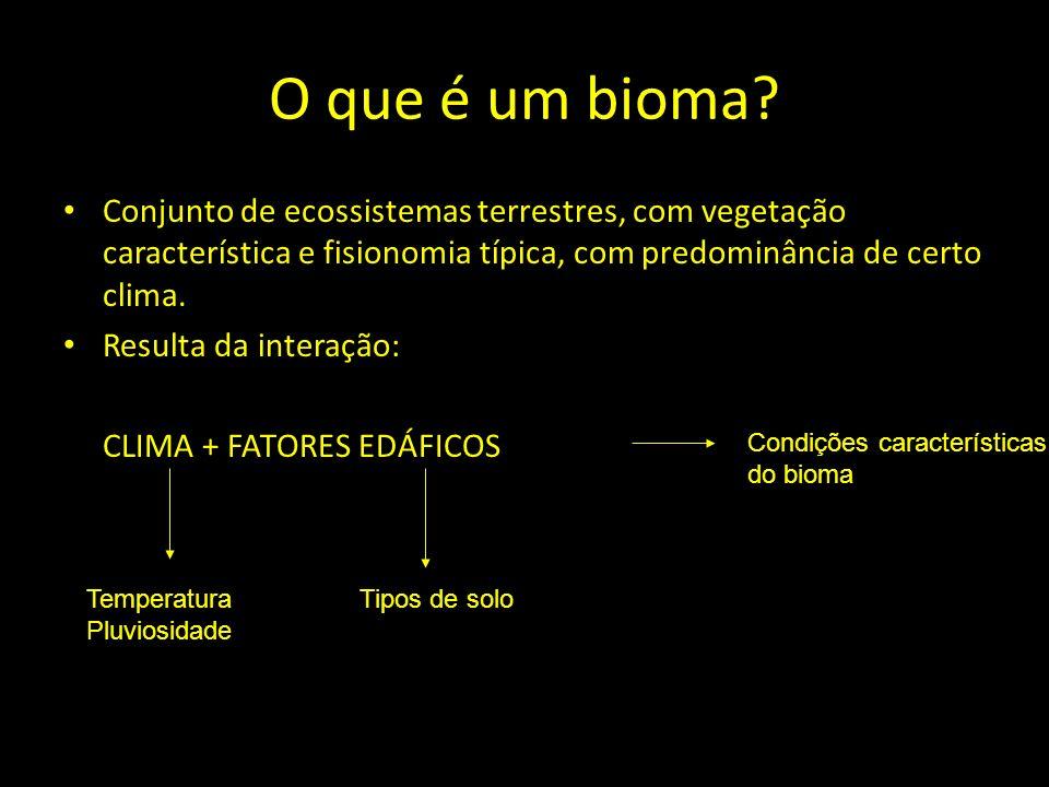 O que é um bioma Conjunto de ecossistemas terrestres, com vegetação característica e fisionomia típica, com predominância de certo clima.
